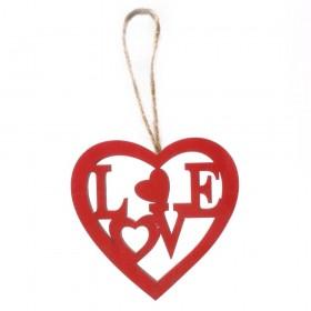 COLG CORAZON Hout Love 8Ccm ROJO (10u.)