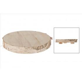 DISCO ABEDUL CON PIE 30x30x3.5/5.5cm Natural