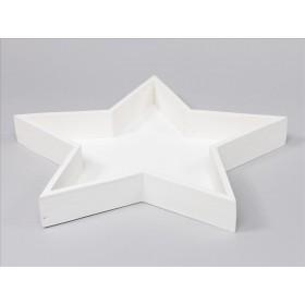 BANDEJA MADERA ESTRELLA 30.5x30x3.5cm Blanca