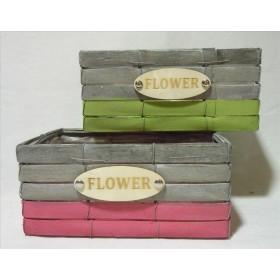 BASE MIMBRE FLOWER 24x16 H11CM gris/rosa gris/ver